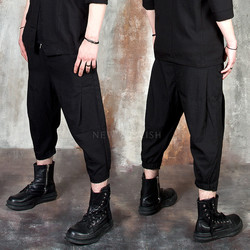 Black linen baggy capri pants