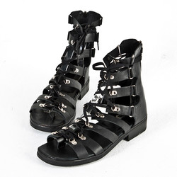 Lace-up all-black modern gladiator sandals