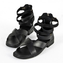 Hand-crafted black cross gladiator sandals