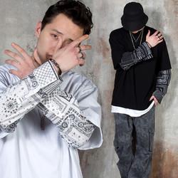 Jacquard patterned sleeve layered t-shirts