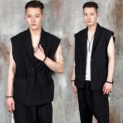 Sleeveless one button linen jacket