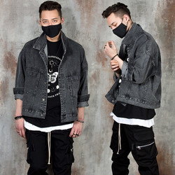 Washed black denim jacket