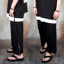 Side zipper wide ankle pants