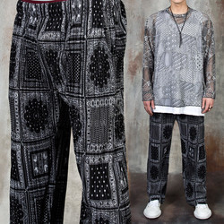 Paisley patterned pleats pants