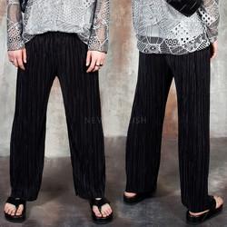 Plain pleats pants
