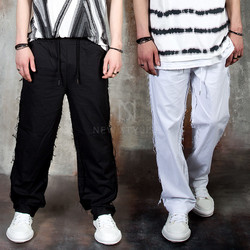 Distressed loose threads pants