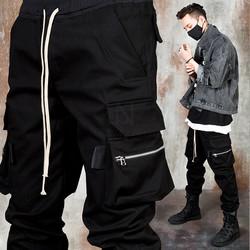 Black zipper cargo jogger pants