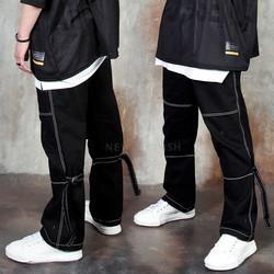 Buckle strap visible seam pants