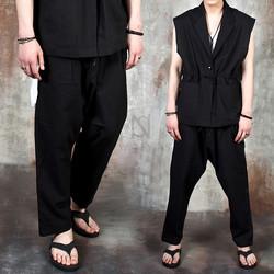 Linen baggy banded pants