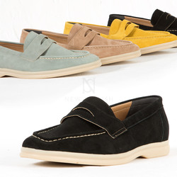 Over-stitch contrast suede loafer