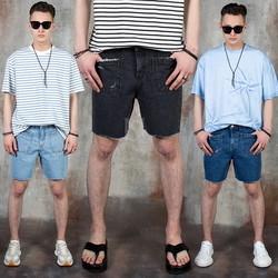 Distressed backward pocket denim shorts