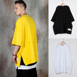 Side zipper opening oversized t-shirts