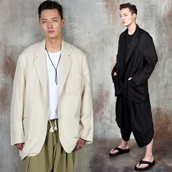 Oversized linen blazer jacket