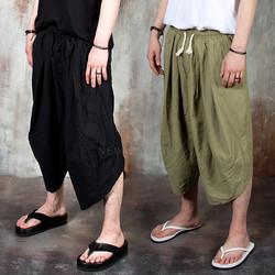 Samurai vibe wrinkled waist super-wide pants