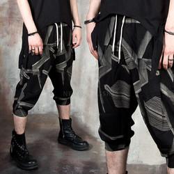 Grunge jacquard patterned pants