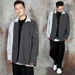 Diagonal striped contrast shirts