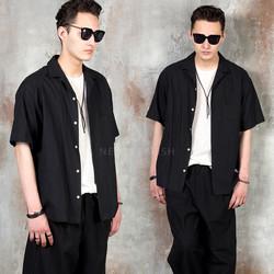 Simple plain button-up shirts