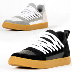 Overlaced contrast low top sneakers