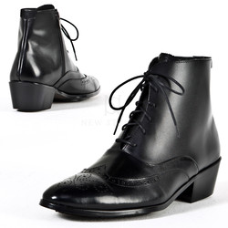 Wing-tip brogue lace up high-heel ankle boots