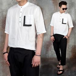 Contrast pocket linen henley neck t-shirts