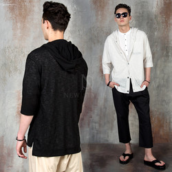 Side opening linen hooded cardigan