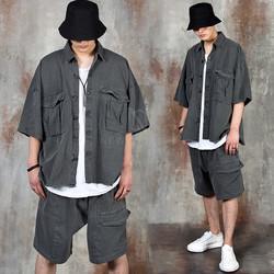 Vintage washed cargo pocket shirt jacket