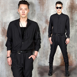 Black belt Mandarin collar linen jumpsuit