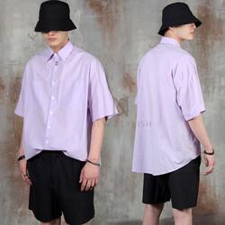 Round hem loose fit cotton shirts