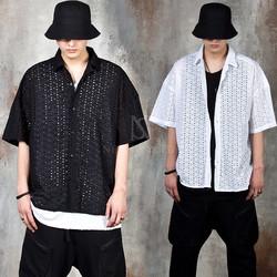 Eyelet embroidered short sleeve shirts