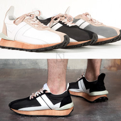Wood color outsole contrast sneakers
