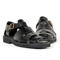 Black leather fisherman sandals