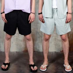 Pleated plain cotton shorts
