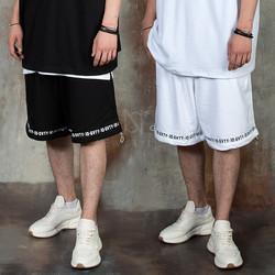 String hem lettering wide shorts