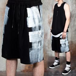 Brushed paint banded shorts