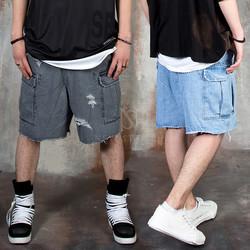 Distressed cargo denim shorts