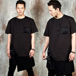Avant-garde contrast diagonal button and pocket t-shirts