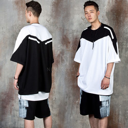 Roll-up sleeve hem diagonal contrast t-shirts