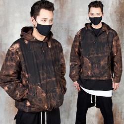 Watercolor crack pattern anorak hoodie