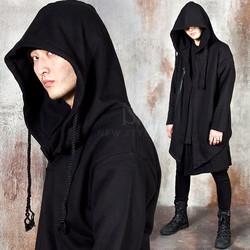 Avant-garde asymmetric long zip-up hoodie