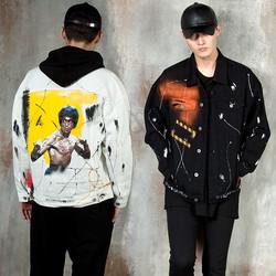 Contrast splatter paint denim jacket