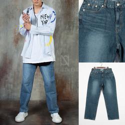 Washed loose fit denim jeans