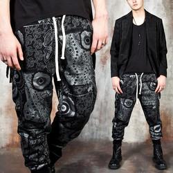 Multiple silver pattern baggy pants