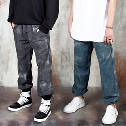 Tie-dye pattern string pants