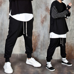 Low crotch baggy banded pants