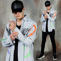 Contrast paint lettering striped shirts