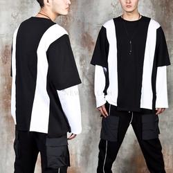Contrast layered unbalance t-shirts