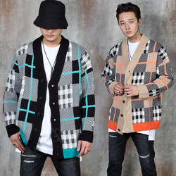 Contrast mix checkered knit cardigan