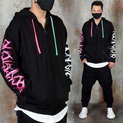 Cool lettering sleeve zip-up hoodie
