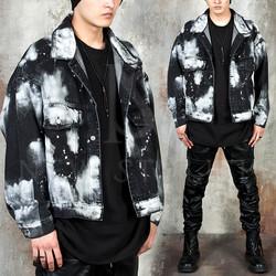 Bleached snow black denim jacket