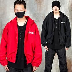 Reflective lettering wind-breaker zip-up jacket
